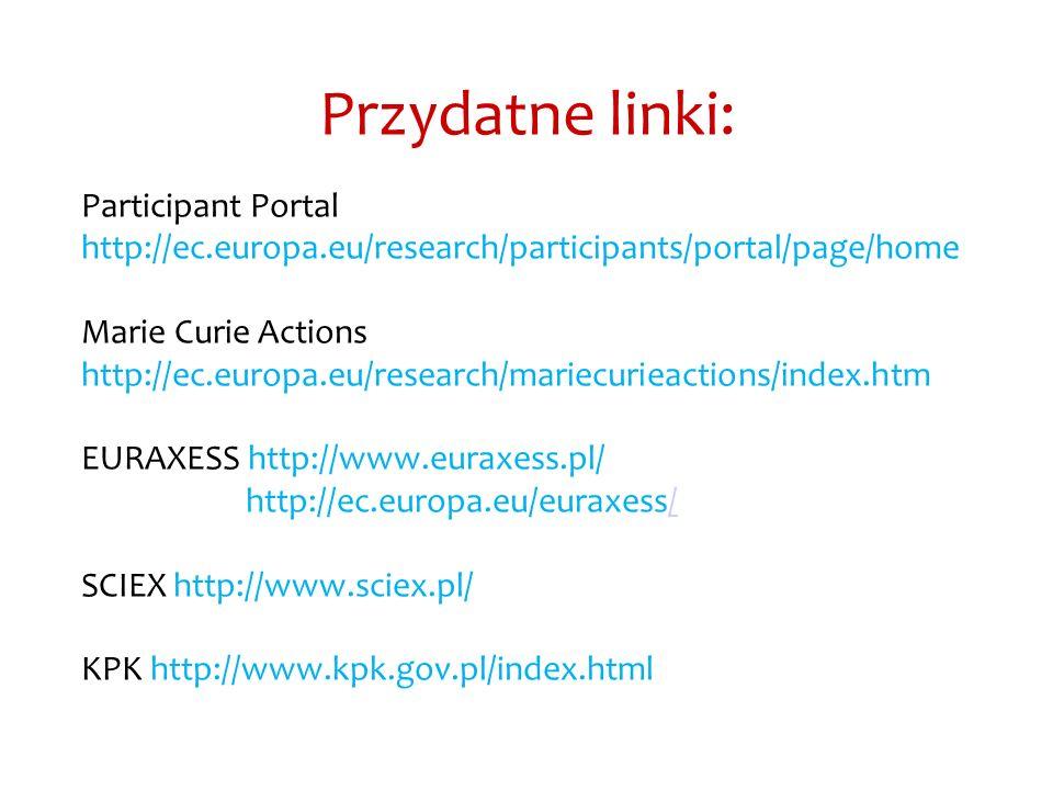 Przydatne linki: Participant Portal http://ec.europa.eu/research/participants/portal/page/home Marie Curie Actions http://ec.europa.eu/research/mariec