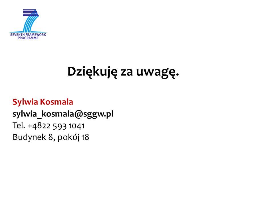Dziękuję za uwagę. Sylwia Kosmala sylwia_kosmala@sggw.pl Tel. +4822 593 1041 Budynek 8, pokój 18