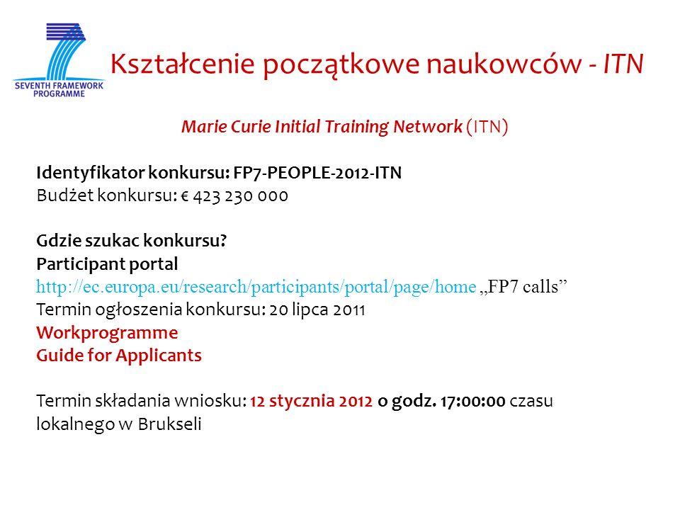 Kształcenie początkowe naukowców - ITN Marie Curie Initial Training Network (ITN) Identyfikator konkursu: FP7-PEOPLE-2012-ITN Budżet konkursu: 423 230 000 Gdzie szukac konkursu.