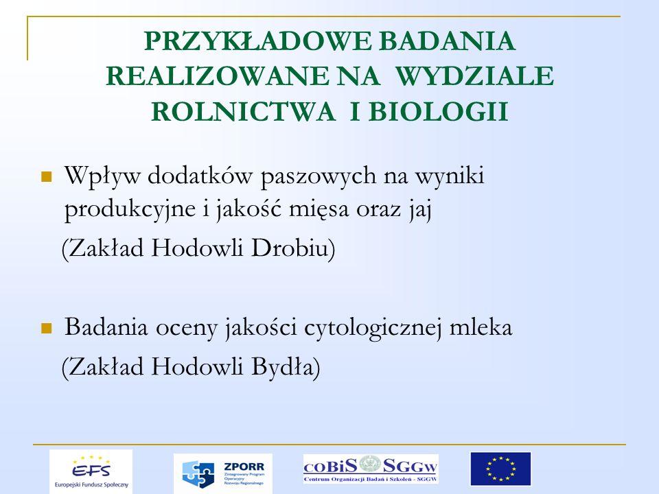 PRZYKŁADOWE BADANIA REALIZOWANE NA WYDZIALE ROLNICTWA I BIOLOGII Wpływ dodatków paszowych na wyniki produkcyjne i jakość mięsa oraz jaj (Zakład Hodowli Drobiu) Badania oceny jakości cytologicznej mleka (Zakład Hodowli Bydła)