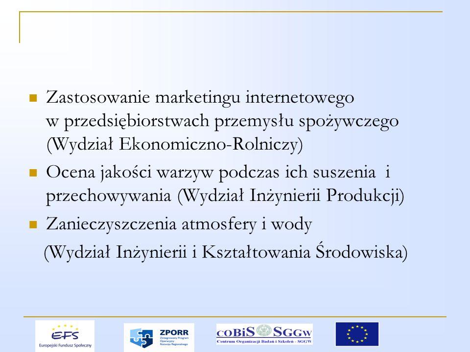 Zastosowanie marketingu internetowego w przedsiębiorstwach przemysłu spożywczego (Wydział Ekonomiczno-Rolniczy) Ocena jakości warzyw podczas ich suszenia i przechowywania (Wydział Inżynierii Produkcji) Zanieczyszczenia atmosfery i wody (Wydział Inżynierii i Kształtowania Środowiska)