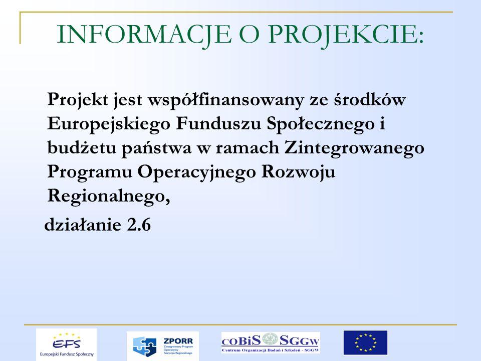 INFORMACJE O PROJEKCIE: Projekt jest współfinansowany ze środków Europejskiego Funduszu Społecznego i budżetu państwa w ramach Zintegrowanego Programu Operacyjnego Rozwoju Regionalnego, działanie 2.6