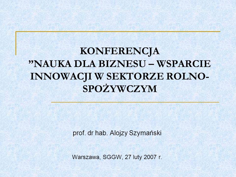 KONFERENCJA NAUKA DLA BIZNESU – WSPARCIE INNOWACJI W SEKTORZE ROLNO- SPOŻYWCZYM prof.