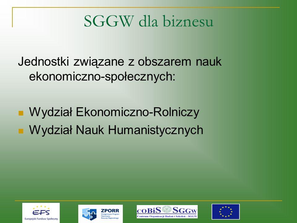 SGGW dla biznesu Jednostki związane z obszarem nauk ekonomiczno-społecznych: Wydział Ekonomiczno-Rolniczy Wydział Nauk Humanistycznych
