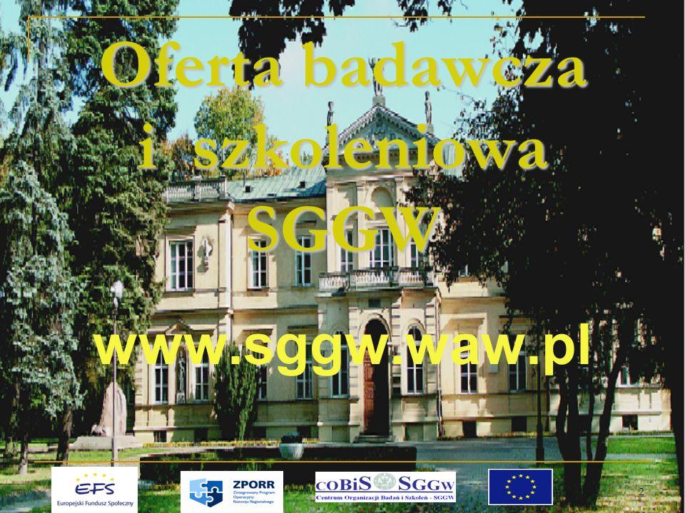 2 Oferta badawcza i szkoleniowa SGGW www.sggw.waw.pl