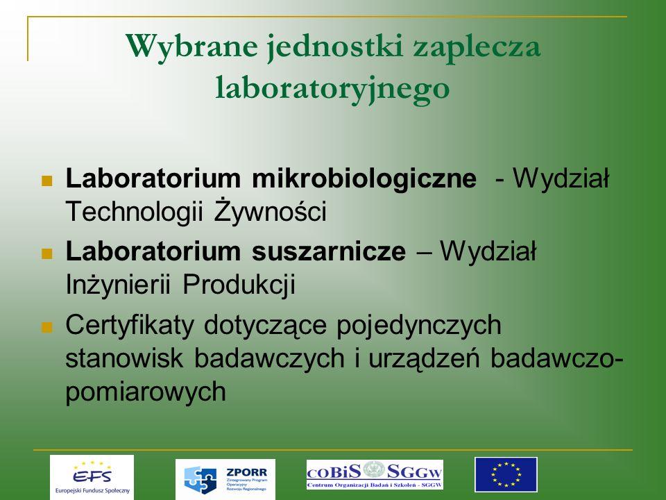 Wybrane jednostki zaplecza laboratoryjnego Laboratorium mikrobiologiczne - Wydział Technologii Żywności Laboratorium suszarnicze – Wydział Inżynierii Produkcji Certyfikaty dotyczące pojedynczych stanowisk badawczych i urządzeń badawczo- pomiarowych