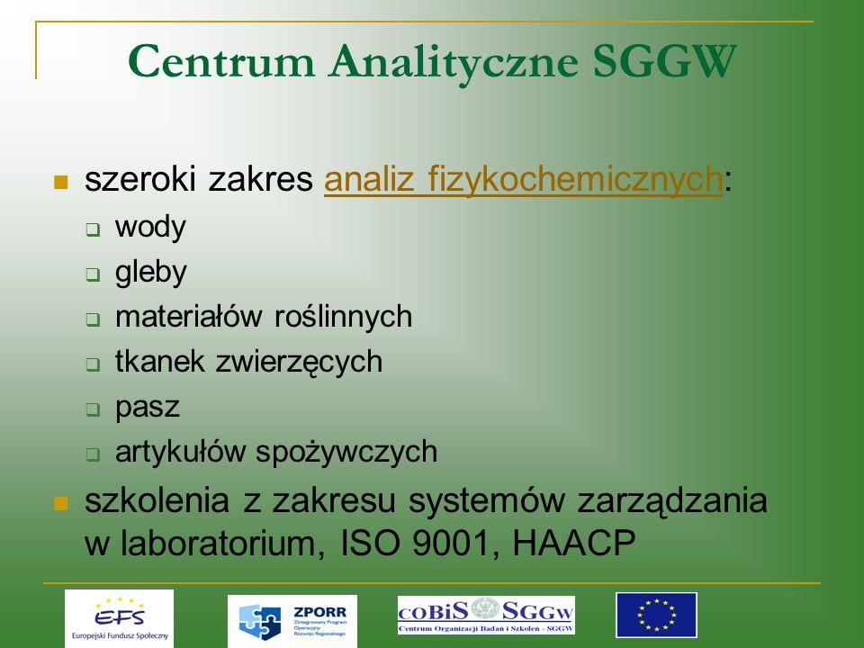 Centrum Analityczne SGGW szeroki zakres analiz fizykochemicznych:analiz fizykochemicznych wody gleby materiałów roślinnych tkanek zwierzęcych pasz artykułów spożywczych szkolenia z zakresu systemów zarządzania w laboratorium, ISO 9001, HAACP