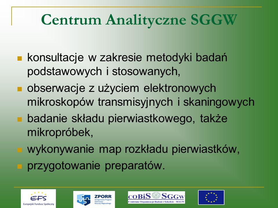 Centrum Analityczne SGGW konsultacje w zakresie metodyki badań podstawowych i stosowanych, obserwacje z użyciem elektronowych mikroskopów transmisyjnych i skaningowych badanie składu pierwiastkowego, także mikropróbek, wykonywanie map rozkładu pierwiastków, przygotowanie preparatów.