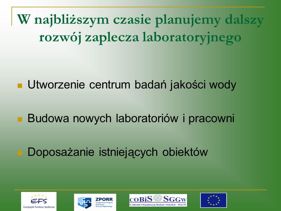 W najbliższym czasie planujemy dalszy rozwój zaplecza laboratoryjnego Utworzenie centrum badań jakości wody Budowa nowych laboratoriów i pracowni Doposażanie istniejących obiektów