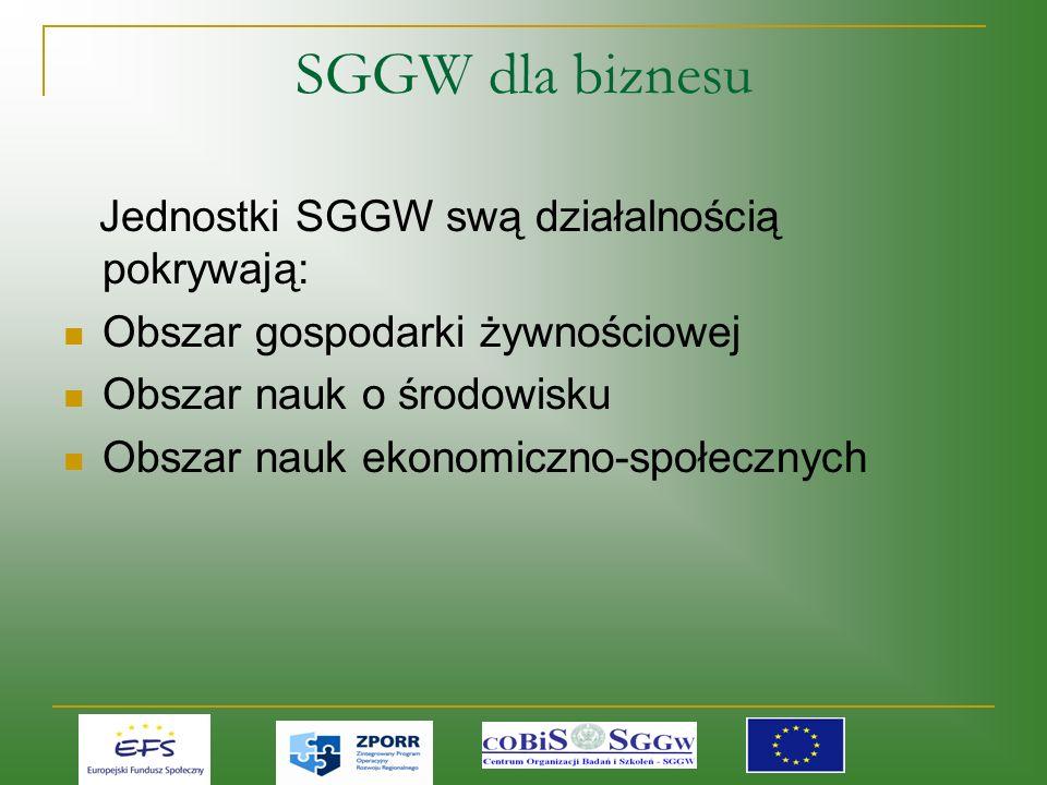 Jednostki SGGW swą działalnością pokrywają: Obszar gospodarki żywnościowej Obszar nauk o środowisku Obszar nauk ekonomiczno-społecznych