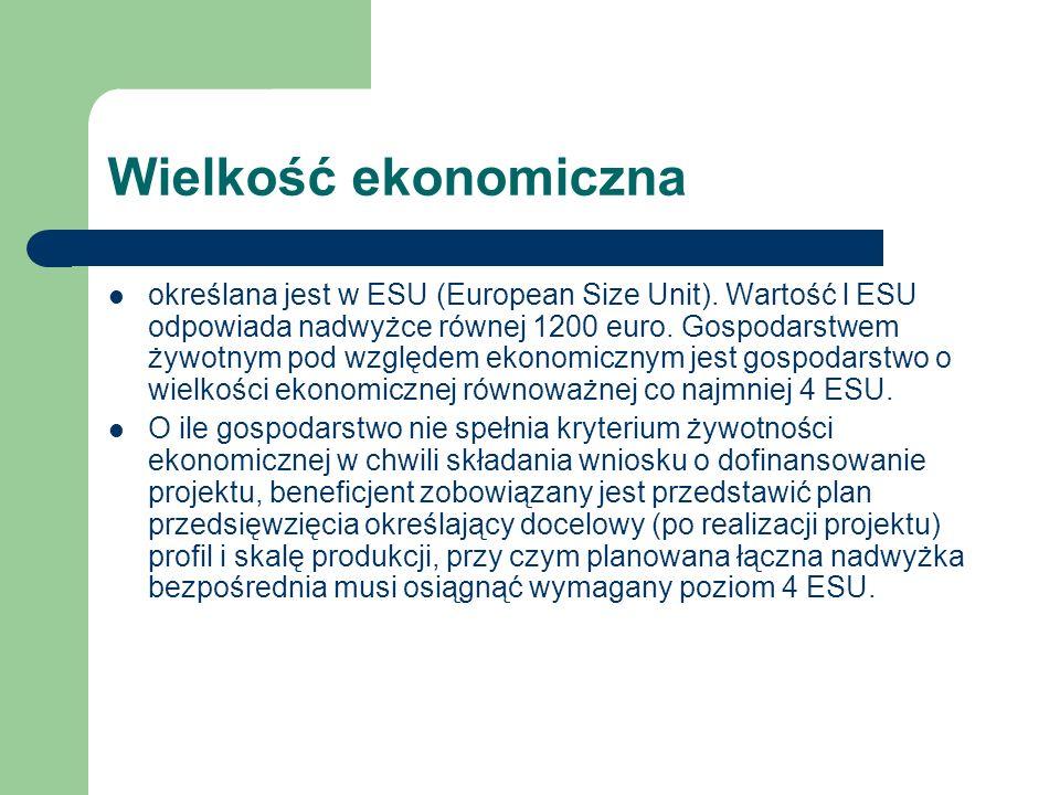Wielkość ekonomiczna określana jest w ESU (European Size Unit). Wartość l ESU odpowiada nadwyżce równej 1200 euro. Gospodarstwem żywotnym pod względem