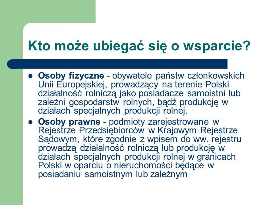 Kto może ubiegać się o wsparcie? Osoby fizyczne - obywatele państw członkowskich Unii Europejskiej, prowadzący na terenie Polski działalność rolniczą