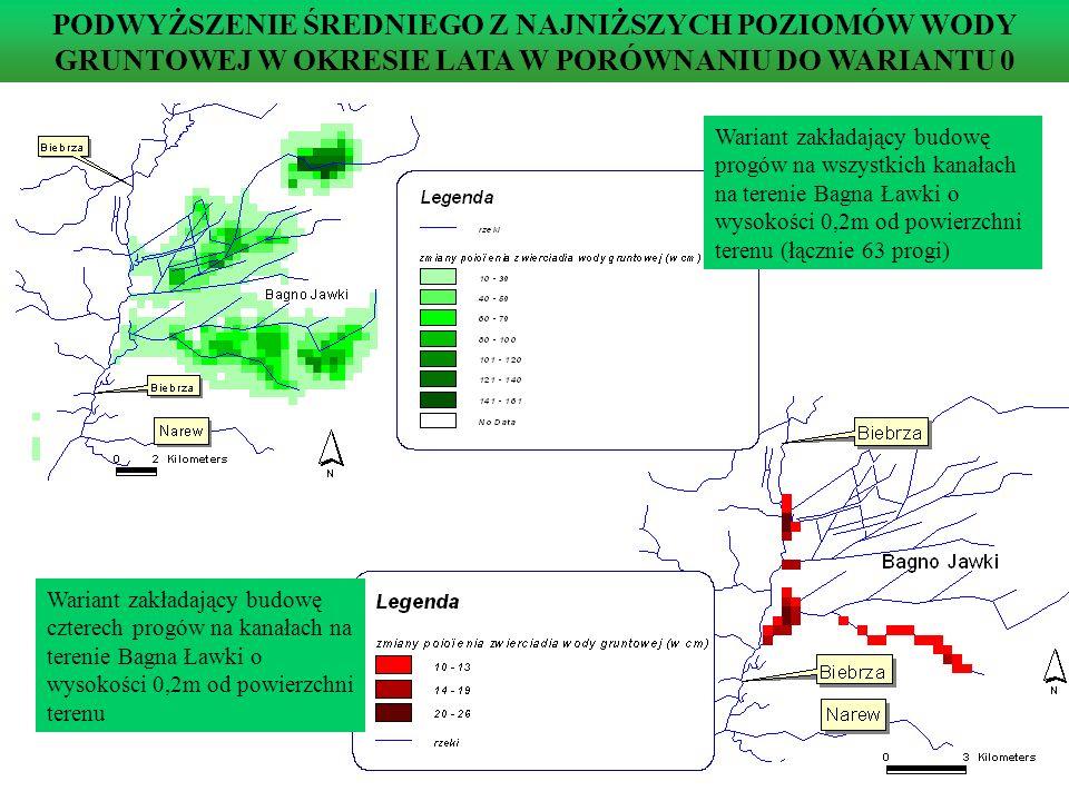 PODWYŻSZENIE ŚREDNIEGO Z NAJNIŻSZYCH POZIOMÓW WODY GRUNTOWEJ W OKRESIE LATA W PORÓWNANIU DO WARIANTU 0 Wariant zakładający budowę czterech progów na kanałach na terenie Bagna Ławki o wysokości 0,2m od powierzchni terenu Wariant zakładający budowę progów na wszystkich kanałach na terenie Bagna Ławki o wysokości 0,2m od powierzchni terenu (łącznie 63 progi)