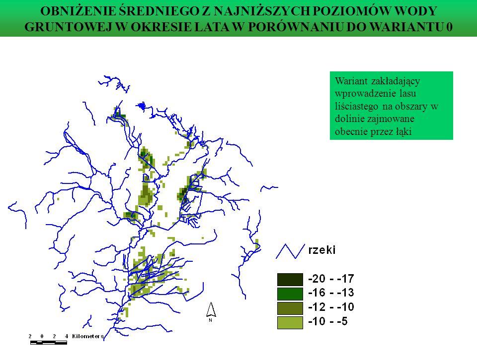 Poziom wody gruntowej w węźle 836, w którym zmieniono użytkowanie terenu, w wariantach 0 i VI Wariant (VI) zakładający wprowadzenie łąk na tereny w dolinie zajmowane obecnie przez las liściasty POZIOMY WÓD GRUNTOWYCH W CHARAKTERYSTYCZNYM WĘŹLE