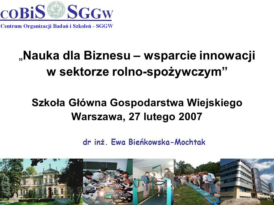 Nauka dla Biznesu – wsparcie innowacji w sektorze rolno-spożywczym Szkoła Główna Gospodarstwa Wiejskiego Warszawa, 27 lutego 2007 dr inż. Ewa Bieńkows