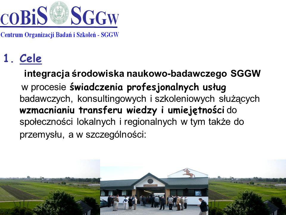 1.Cele integracja środowiska naukowo-badawczego SGGW w procesie świadczenia profesjonalnych usług badawczych, konsultingowych i szkoleniowych służących wzmacnianiu transferu wiedzy i umiejętności do społeczności lokalnych i regionalnych w tym także do przemysłu, a w szczególności: