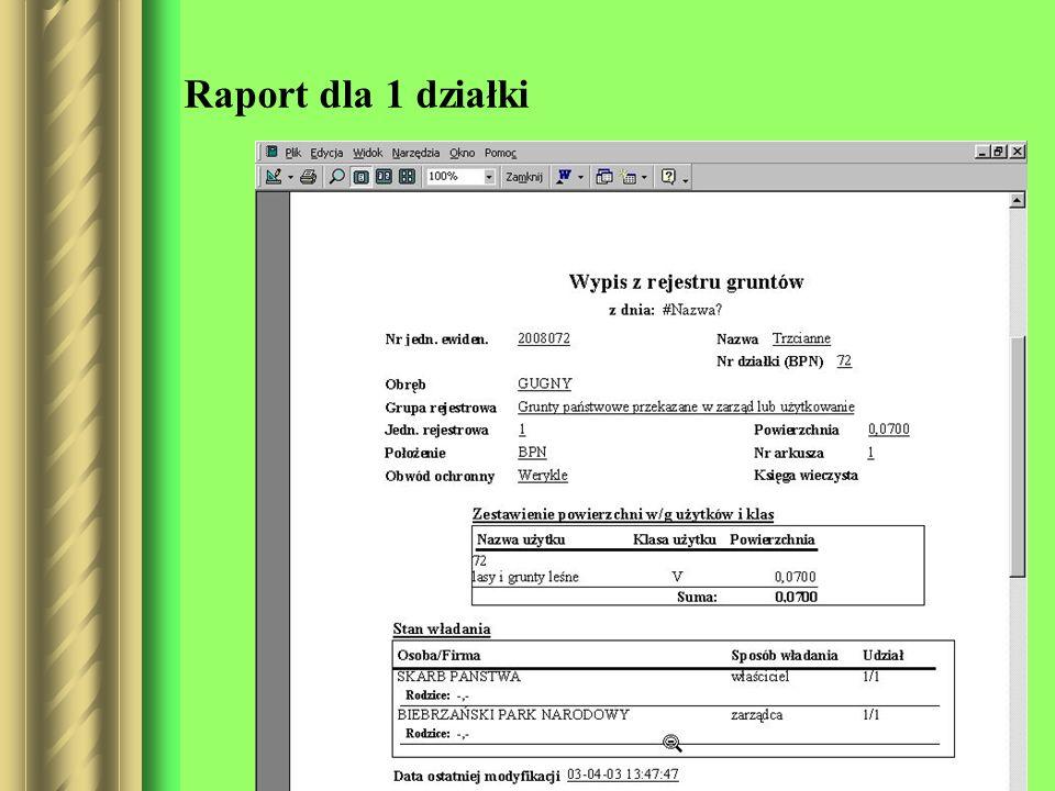 Raport dla 1 działki