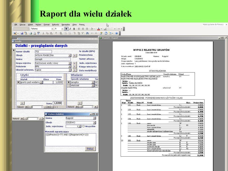 Raport dla wielu działek