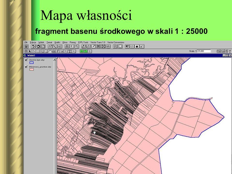 Mapa własności fragment basenu środkowego w skali 1 : 25000