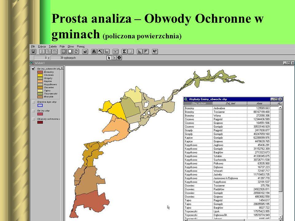 Prosta analiza – Obwody Ochronne w gminach (policzona powierzchnia)