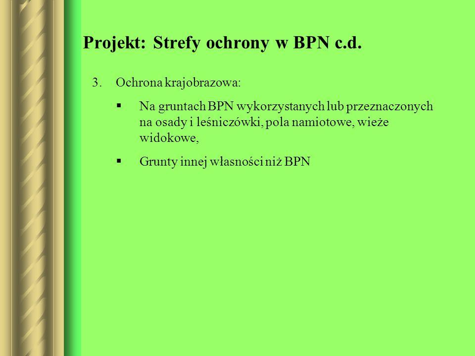 Projekt: Strefy ochrony w BPN c.d. 3.Ochrona krajobrazowa: Na gruntach BPN wykorzystanych lub przeznaczonych na osady i leśniczówki, pola namiotowe, w