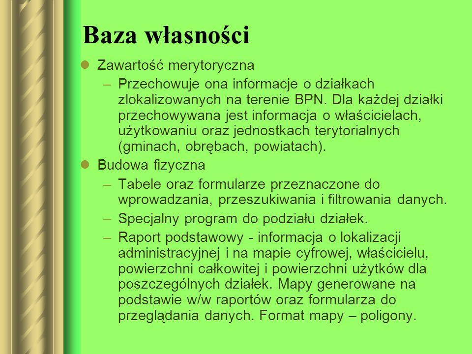 Baza własności Zawartość merytoryczna –Przechowuje ona informacje o działkach zlokalizowanych na terenie BPN. Dla każdej działki przechowywana jest in