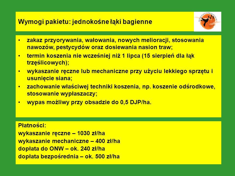 Wymogi pakietu: jednokośne łąki bagienne zakaz przyorywania, wałowania, nowych melioracji, stosowania nawozów, pestycydów oraz dosiewania nasion traw;