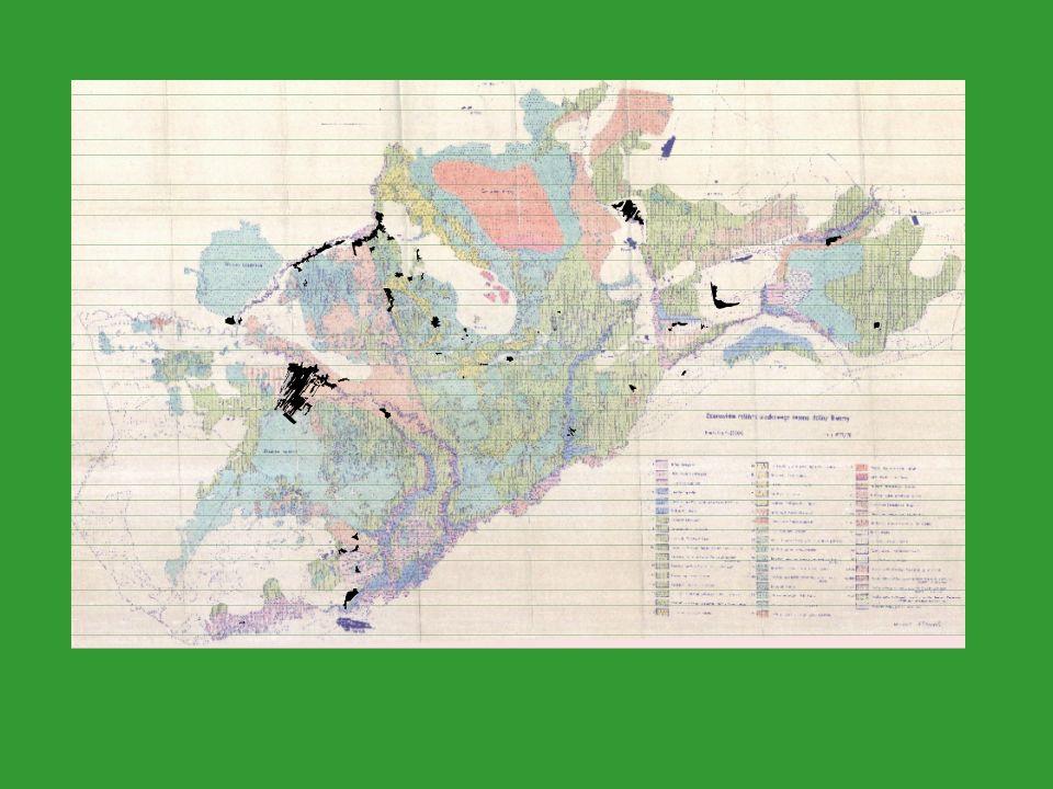 drogi eksploatacja torfu lasy łąki tereny mokradłowe niewykoszone grunty orne zarośla zarośla na terenach niehydrogenicznych koryta, starorzecza, rowy granica zasięgu łąk trzęślicowych