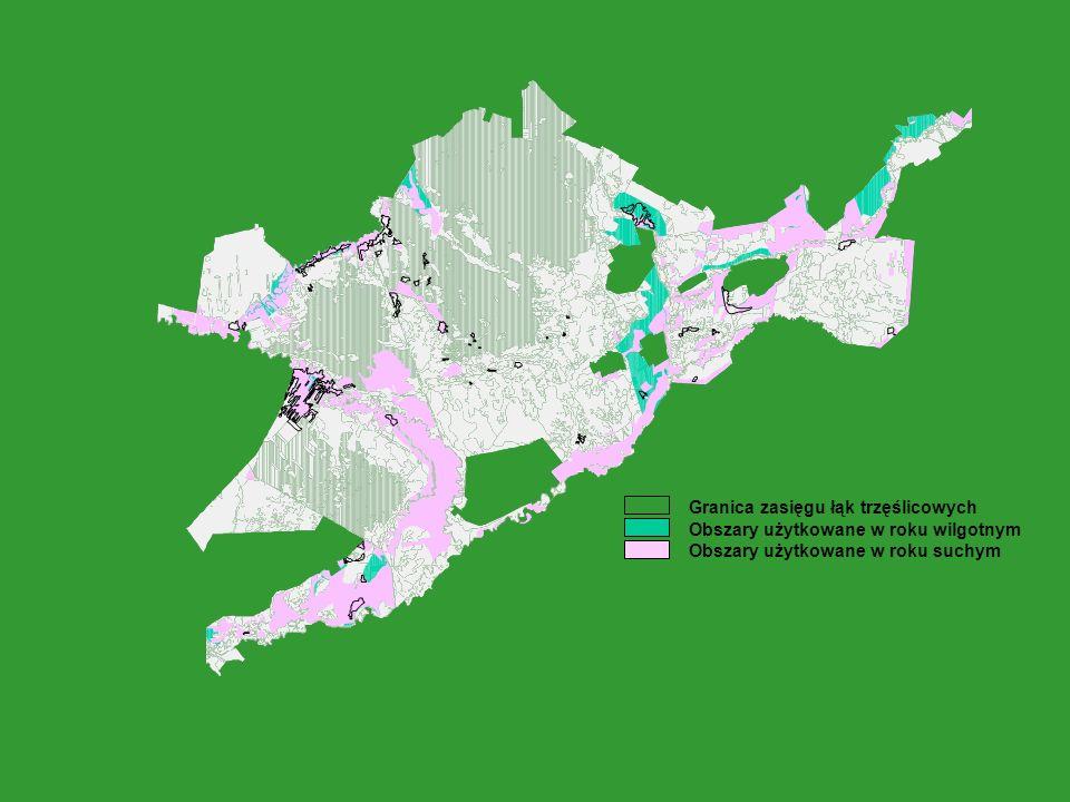 Granica zasięgu łąk trzęślicowych Obszary użytkowane w roku wilgotnym Obszary użytkowane w roku suchym