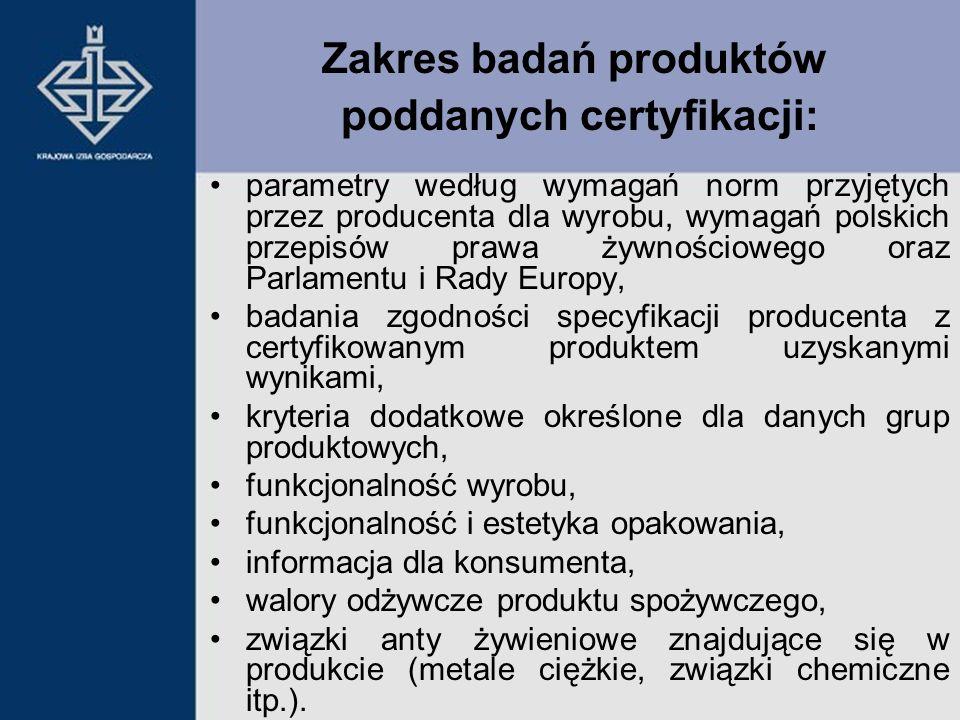 parametry według wymagań norm przyjętych przez producenta dla wyrobu, wymagań polskich przepisów prawa żywnościowego oraz Parlamentu i Rady Europy, ba
