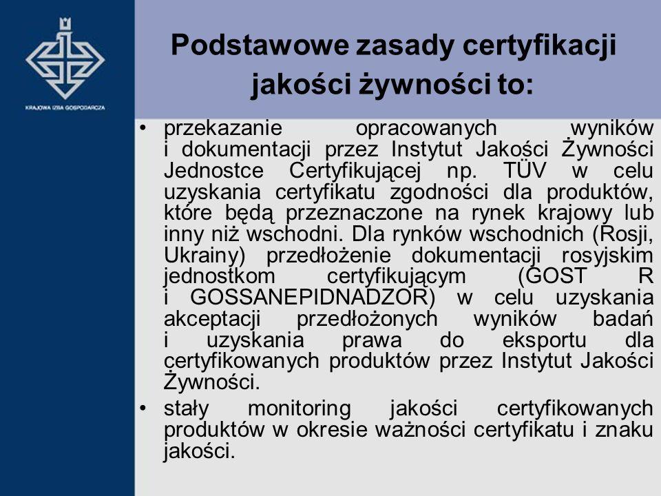 przekazanie opracowanych wyników i dokumentacji przez Instytut Jakości Żywności Jednostce Certyfikującej np. TÜV w celu uzyskania certyfikatu zgodnośc