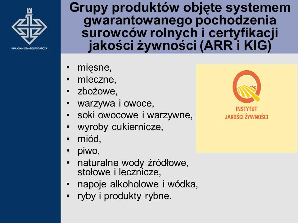 Grupy produktów objęte systemem gwarantowanego pochodzenia surowców rolnych i certyfikacji jakości żywności (ARR i KIG) mięsne, mleczne, zbożowe, warz