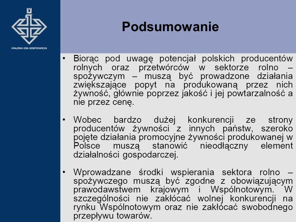 Podsumowanie Biorąc pod uwagę potencjał polskich producentów rolnych oraz przetwórców w sektorze rolno – spożywczym – muszą być prowadzone działania z