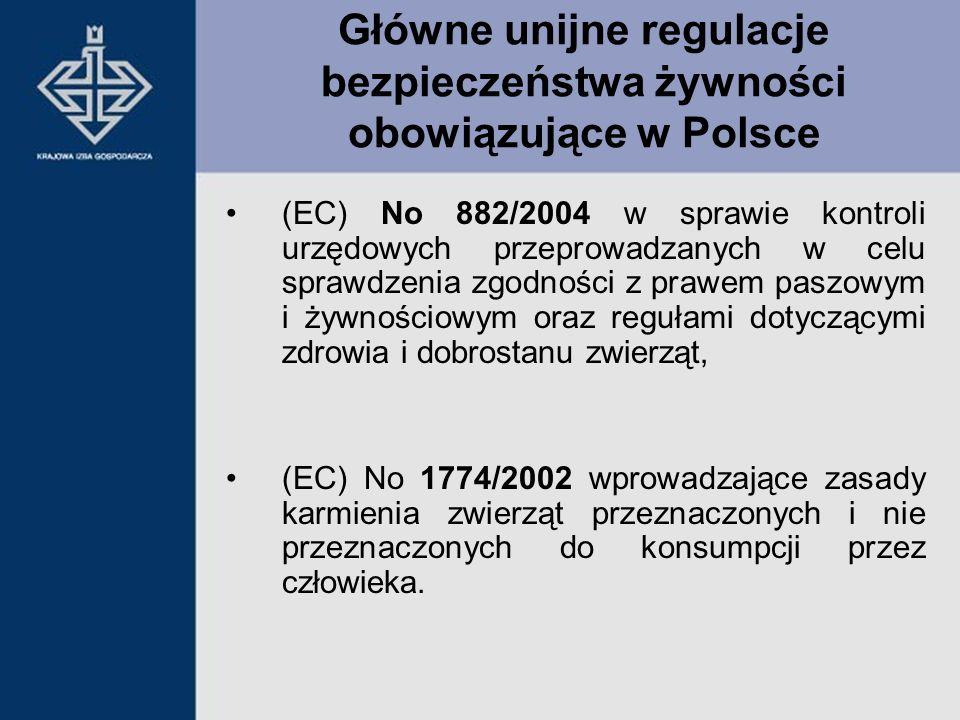 Główne unijne regulacje bezpieczeństwa żywności obowiązujące w Polsce (EC) No 882/2004 w sprawie kontroli urzędowych przeprowadzanych w celu sprawdzen