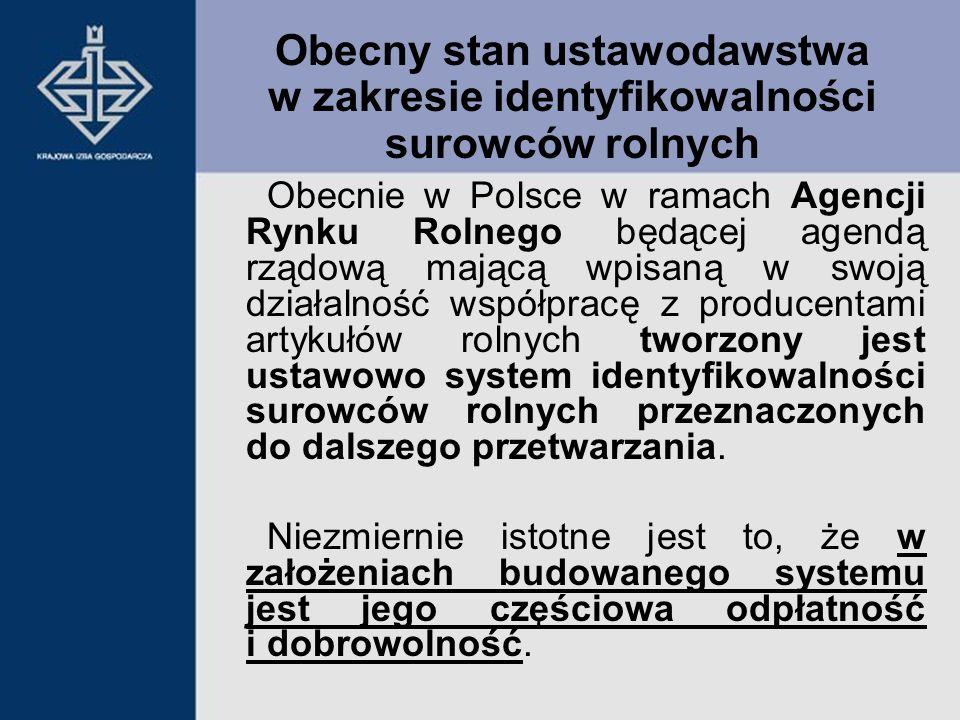 Obecnie w Polsce w ramach Agencji Rynku Rolnego będącej agendą rządową mającą wpisaną w swoją działalność współpracę z producentami artykułów rolnych
