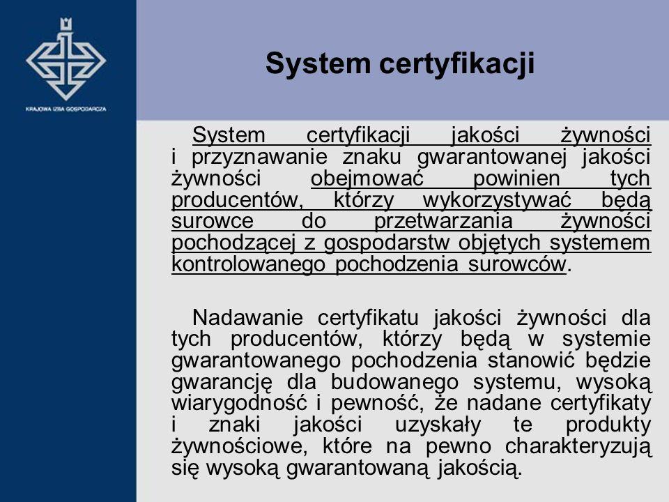 System certyfikacji jakości żywności i przyznawanie znaku gwarantowanej jakości żywności obejmować powinien tych producentów, którzy wykorzystywać będ