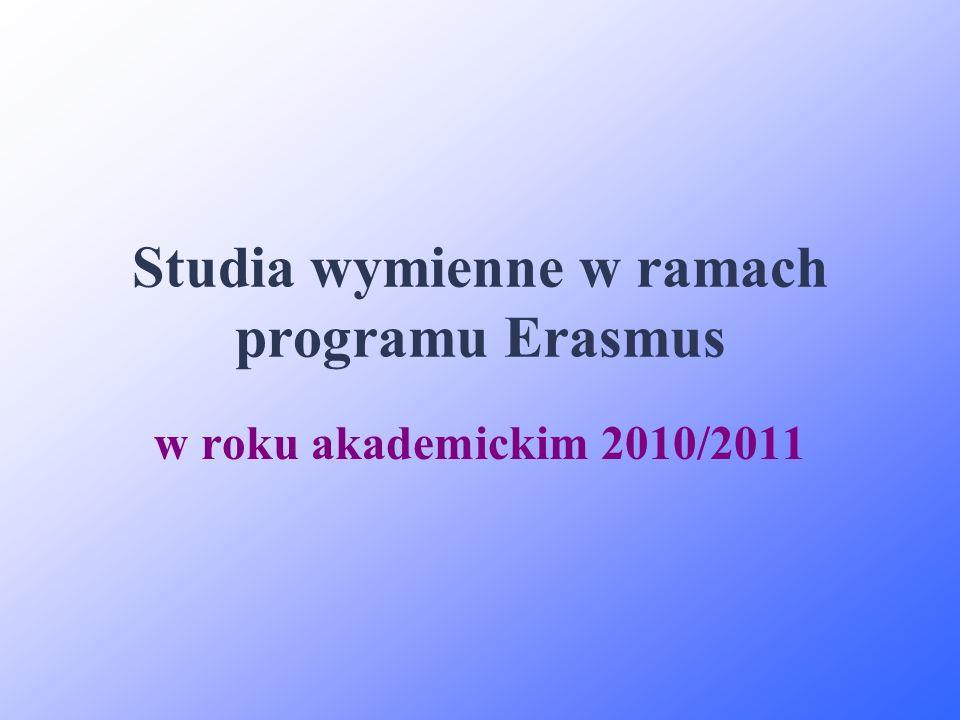 Studia wymienne w ramach programu Erasmus w roku akademickim 2010/2011