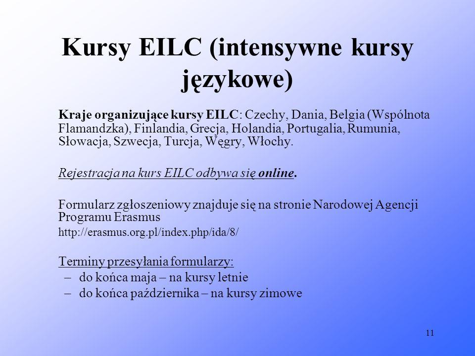 11 Kursy EILC (intensywne kursy językowe) Kraje organizujące kursy EILC: Czechy, Dania, Belgia (Wspólnota Flamandzka), Finlandia, Grecja, Holandia, Po