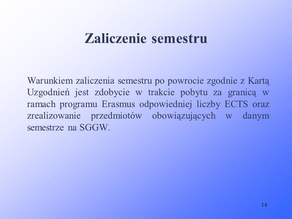 14 Warunkiem zaliczenia semestru po powrocie zgodnie z Kartą Uzgodnień jest zdobycie w trakcie pobytu za granicą w ramach programu Erasmus odpowiednie