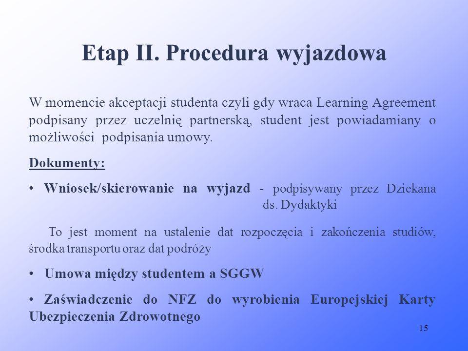 15 Etap II. Procedura wyjazdowa W momencie akceptacji studenta czyli gdy wraca Learning Agreement podpisany przez uczelnię partnerską, student jest po