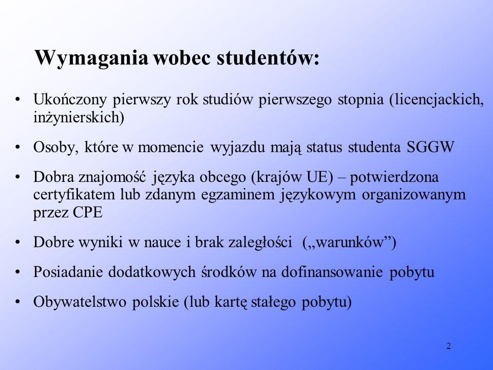 2 Wymagania wobec studentów: Ukończony pierwszy rok studiów pierwszego stopnia (licencjackich, inżynierskich) Osoby, które w momencie wyjazdu mają sta
