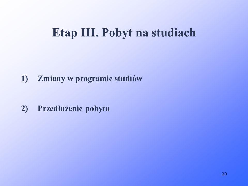20 1)Zmiany w programie studiów 2)Przedłużenie pobytu Etap III. Pobyt na studiach