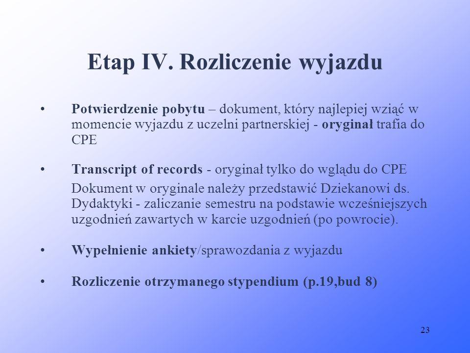 23 Potwierdzenie pobytu – dokument, który najlepiej wziąć w momencie wyjazdu z uczelni partnerskiej - oryginał trafia do CPE Transcript of records - o