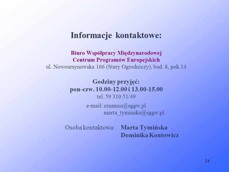 24 Informacje kontaktowe: Biuro Współpracy Międzynarodowej Centrum Programów Europejskich ul. Nowoursynowska 166 (Stary Ogrodniczy), bud. 8, pok.14 Go