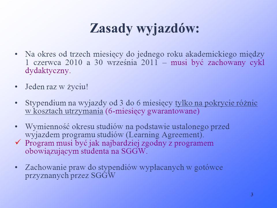 3 Zasady wyjazdów: Na okres od trzech miesięcy do jednego roku akademickiego między 1 czerwca 2010 a 30 września 2011 – musi być zachowany cykl dydakt