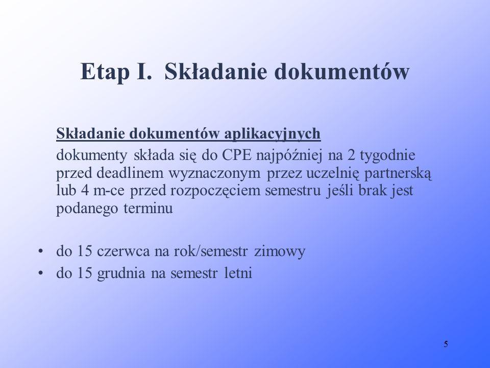 5 Etap I. Składanie dokumentów Składanie dokumentów aplikacyjnych dokumenty składa się do CPE najpóźniej na 2 tygodnie przed deadlinem wyznaczonym prz