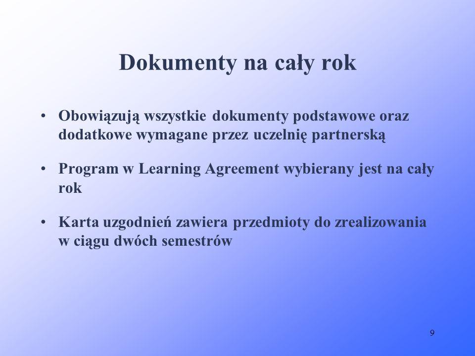 9 Dokumenty na cały rok Obowiązują wszystkie dokumenty podstawowe oraz dodatkowe wymagane przez uczelnię partnerską Program w Learning Agreement wybie