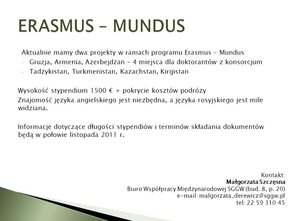 Aktualnie mamy dwa projekty w ramach programu Erasmus - Mundus: - Gruzja, Armenia, Azerbejdżan – 4 miejsca dla doktorantów z konsorcjum - Tadżykistan,