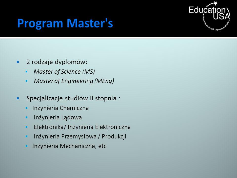 2 rodzaje dyplomów: Master of Science (MS) Master of Engineering (MEng) Specjalizacje studiów II stopnia : Inżynieria Chemiczna Inżynieria Lądowa Elek