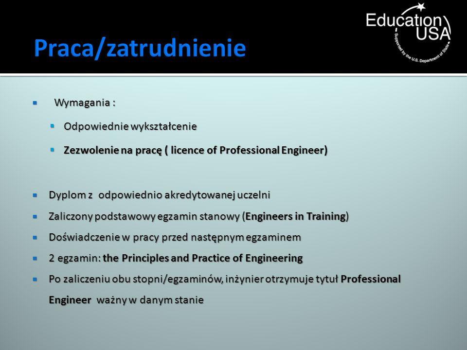 Wymagania : Wymagania : Odpowiednie wykształcenie Odpowiednie wykształcenie Zezwolenie na pracę ( licence of Professional Engineer) Zezwolenie na prac